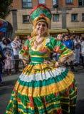Carnaval de Notting Hill en la mujer atractiva de Londres Foto de archivo