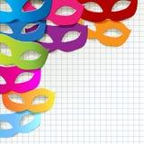Carnaval-de parels van het maskertheater op een geruite document achtergrond royalty-vrije illustratie