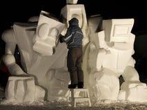 Carnaval de Quebec: Acontecimiento de la escultura de la nieve fotos de archivo