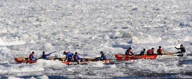 Carnaval de Quebec: Raza de la canoa del hielo fotografía de archivo
