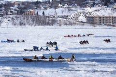 Carnaval de Quebec: Raza de la canoa del hielo imágenes de archivo libres de regalías
