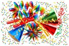 Carnaval-decoratieslingers, wimpel, confettien stock fotografie