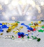 Carnaval decorations on dark wooden background Royalty Free Stock Photo