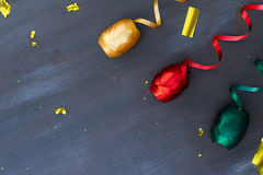 Carnaval decorations on dark wooden background Stock Image