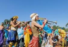 Carnaval del desfile de la calle - Rio de Janeiro, el Brasil 9 DE FEBRERO DE 2016 Foto de archivo