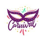 Carnaval-embleem Hand het getrokken vector van letters voorzien voor carnaval Brazili?, Mardi Gras Ge?soleerdj op witte achtergro stock illustratie