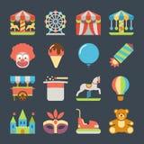 Carnaval en iconos planos del vector del parque de atracciones Imagen de archivo libre de regalías