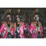 Carnaval en la gente de Lanzarote que canta Fotografía de archivo