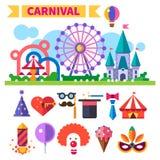 Carnaval en parque de atracciones Sistema y ejemplos planos del icono del vector Fotos de archivo libres de regalías