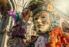 Carnaval en Venecia, festival italiano tradicional concepto del recorrido Imagen de archivo