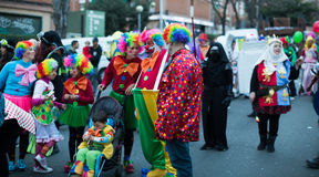 Carnaval espagnol dans le temps de soirée Badalona, Catalogne Images libres de droits