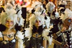 Carnaval espagnol dans le temps de soirée Sitges Photographie stock
