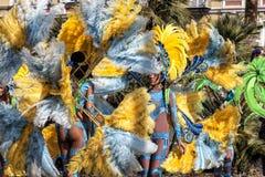 Carnaval famoso de agradável, batalha do ` das flores Dançarinos do samba imagens de stock royalty free