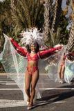 Carnaval famoso de agradável, batalha do ` das flores Dançarinos do samba fotos de stock