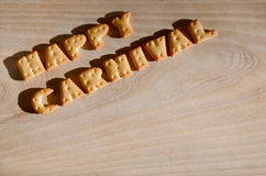 Carnaval feliz Montón de letras comestibles Foto de archivo libre de regalías