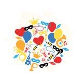 Carnaval, Festival, Partij, Verjaardagsdecoratie, Vector Royalty-vrije Stock Afbeelding