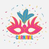 Carnaval festive background with carnival mask and color confetti. Brazil holiday banner. Vector. Carnaval festive background with carnival mask and color Royalty Free Stock Photography