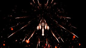 Carnaval fireworks particles on isolated black background. Fire articles embers isolated on smoke black background stock photography