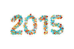 Carnaval 2015 geïsoleerde confettien en overzicht Stock Foto's