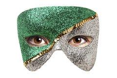 Carnaval-Geïsoleerde het Oogogen van de Maskervrouw Stock Afbeeldingen