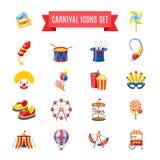 Carnaval-Geplaatste Pictogrammen Stock Afbeeldingen