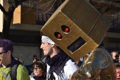 Carnaval - grupo da dança da música do robô imagens de stock