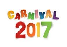 Carnaval hecho a mano colorido 2017 del texto en blanco ilustración del vector