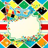 Carnaval-illustratie met hoed en masker op harlekijnachtergrond Stock Foto's
