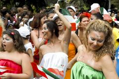 Carnaval kleedde gelukkige vrouwendansers.   Royalty-vrije Stock Afbeelding
