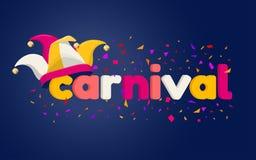 Carnaval literowanie z dowcipnisia kapeluszem zdjęcie stock