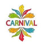 Carnaval Logo Template avec les plumes colorées Photographie stock