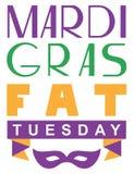 Carnaval martes gordo que pone letras a la tarjeta de felicitación del texto stock de ilustración