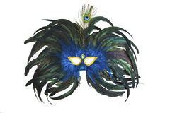 Carnaval Mask. Green and blue carnaval mask made with feathers isolated on black vector illustration