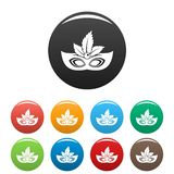 Carnaval mask icons set color. Carnaval mask icons set 9 color vector isolated on white for any design vector illustration