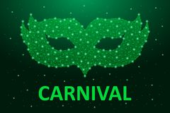 Carnaval mask low poly in green color. Brazil carnival holiday banner for Mardi Gras with polygonal wireframe mesh. Vector. Carnaval mask low poly in green royalty free illustration