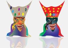 Carnaval-masker dat met ontwerpen op een witte achtergrond wordt verfraaid royalty-vrije illustratie