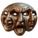 Carnaval-masker drie gezichten (verschillende afbeelding van menselijke emoties) Royalty-vrije Stock Foto