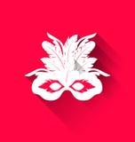 Carnaval-masker met veren met schaduwen, in vlakke stijl vector illustratie