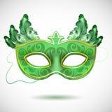 Carnaval-masker met veren vectorillustraties royalty-vrije illustratie