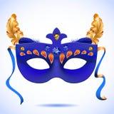 Carnaval-masker met veren vectorillustraties stock illustratie