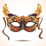 Carnaval-masker met veren vectorillustraties vector illustratie