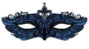 Carnaval-masker met wervelingen en kant Vector Stock Afbeelding