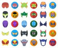 Carnaval-maskerbeeldverhaal, vlakke pictogrammen in vastgestelde inzameling voor ontwerp Masker op de ogen en de voorraadweb van  stock illustratie