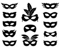 Carnaval-maskersilhouetten vector illustratie