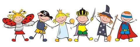 Carnaval, meisjesnad jongens royalty-vrije illustratie