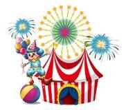 Carnaval met de ballons van een clownholding stock illustratie