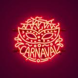 Carnaval neon sign, color red, festival label. Vector illustration stock illustration