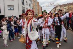 Carnaval in Nuremberg met traditie en suikergoed in de lucht stock afbeelding