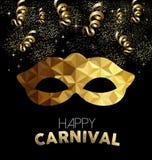 Carnaval-ontwerp met gouden masker en partijelementen royalty-vrije illustratie