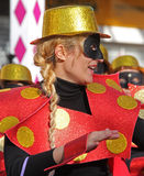 Carnaval Parade. A dancer performing at a parade during a carnaval in Loule, Portugal 26 Feb 2017 No model release Editorial use only Stock Image